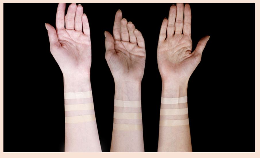 Swatches of foundation from Dear Dahlia