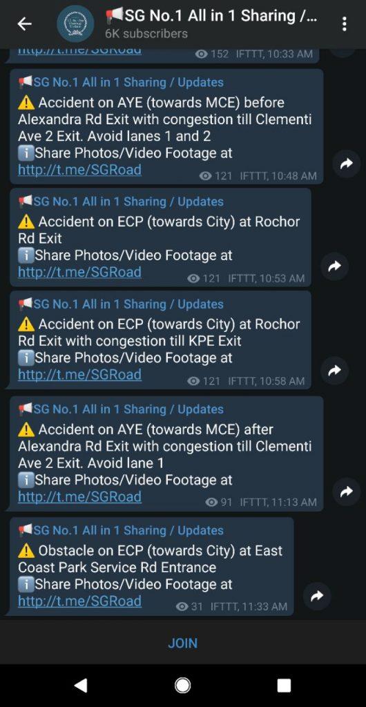 sgupdate telegram channels bots stickers singapore