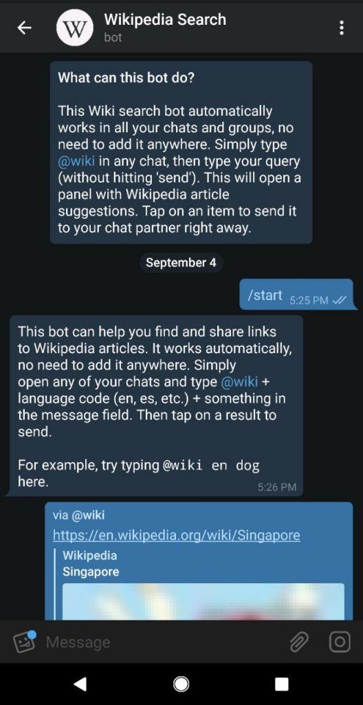 wikipedia search bot telegram channels bots stickers singapore