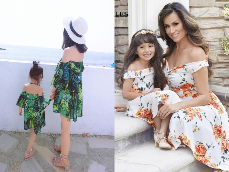 off-shoulder mother daughter dress