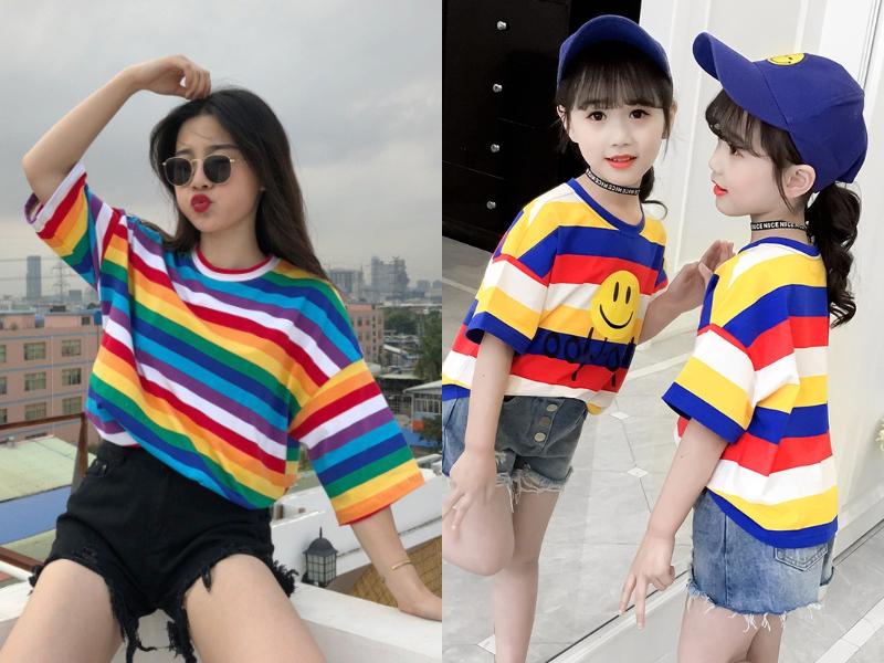 rainbow colour block mother daughter dress
