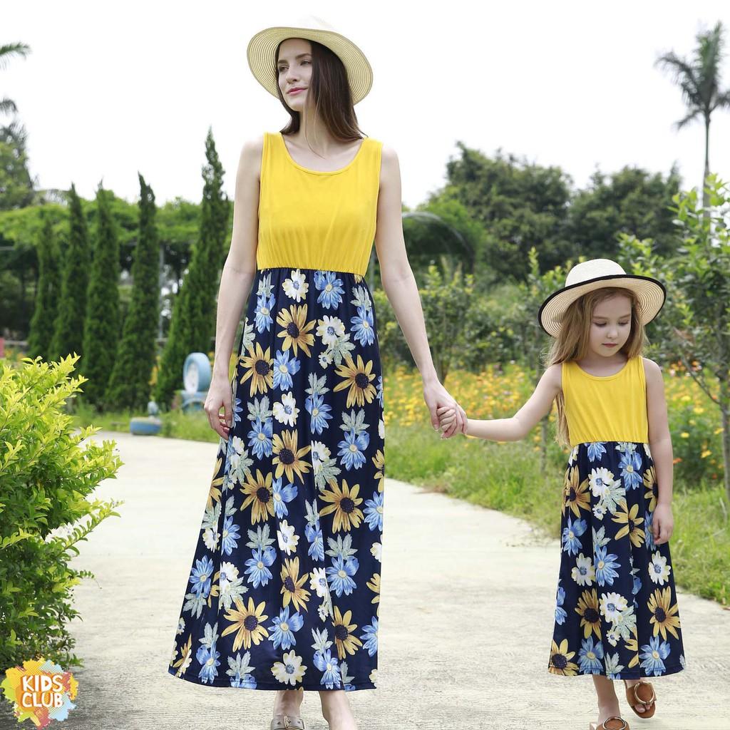 sunflower mother daughter dress