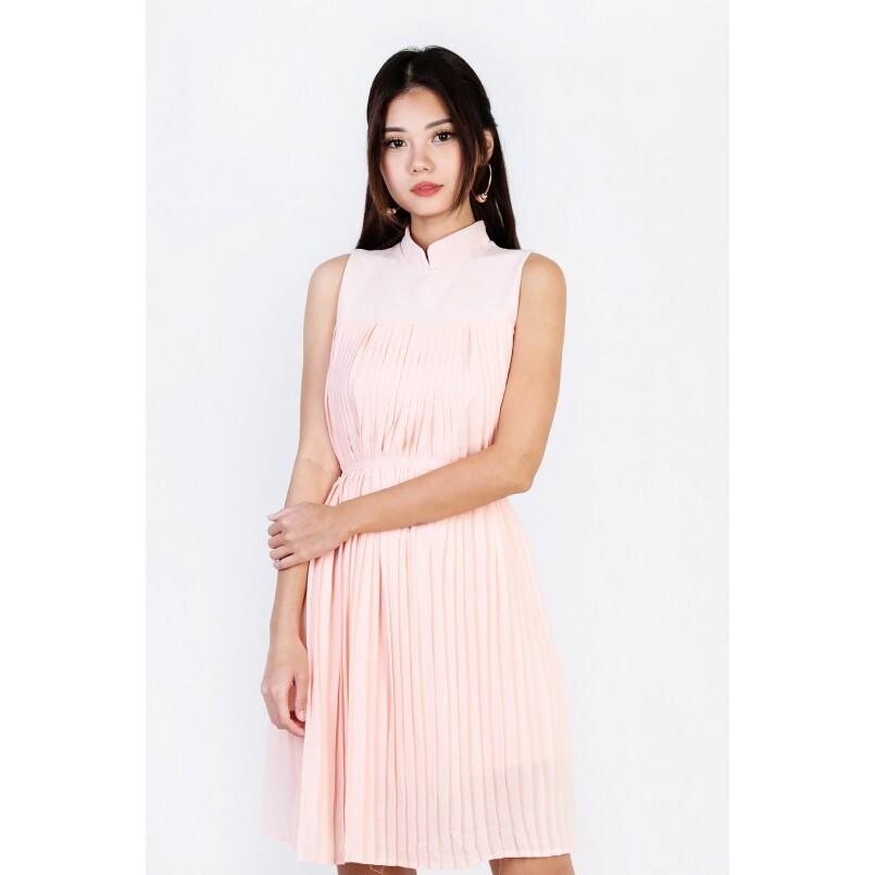pink pleated bridesmaid dress