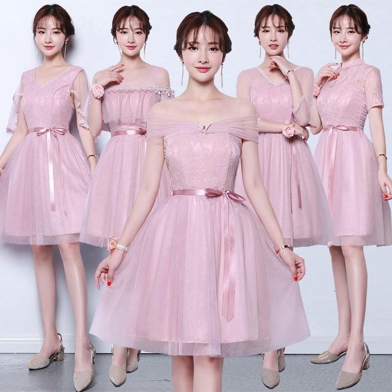 pink tutu tulle bridesmaid dress