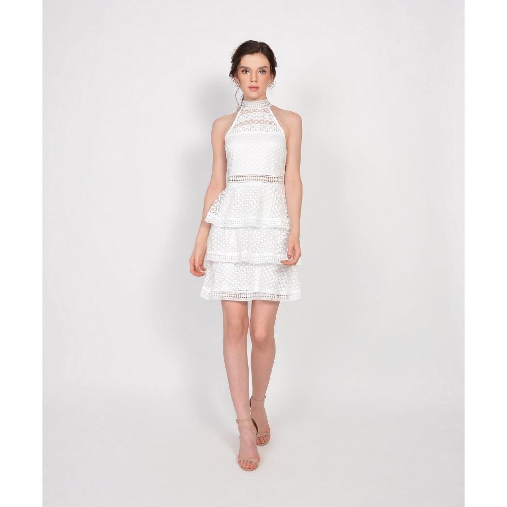 tiered ruffles bridesmaid dress