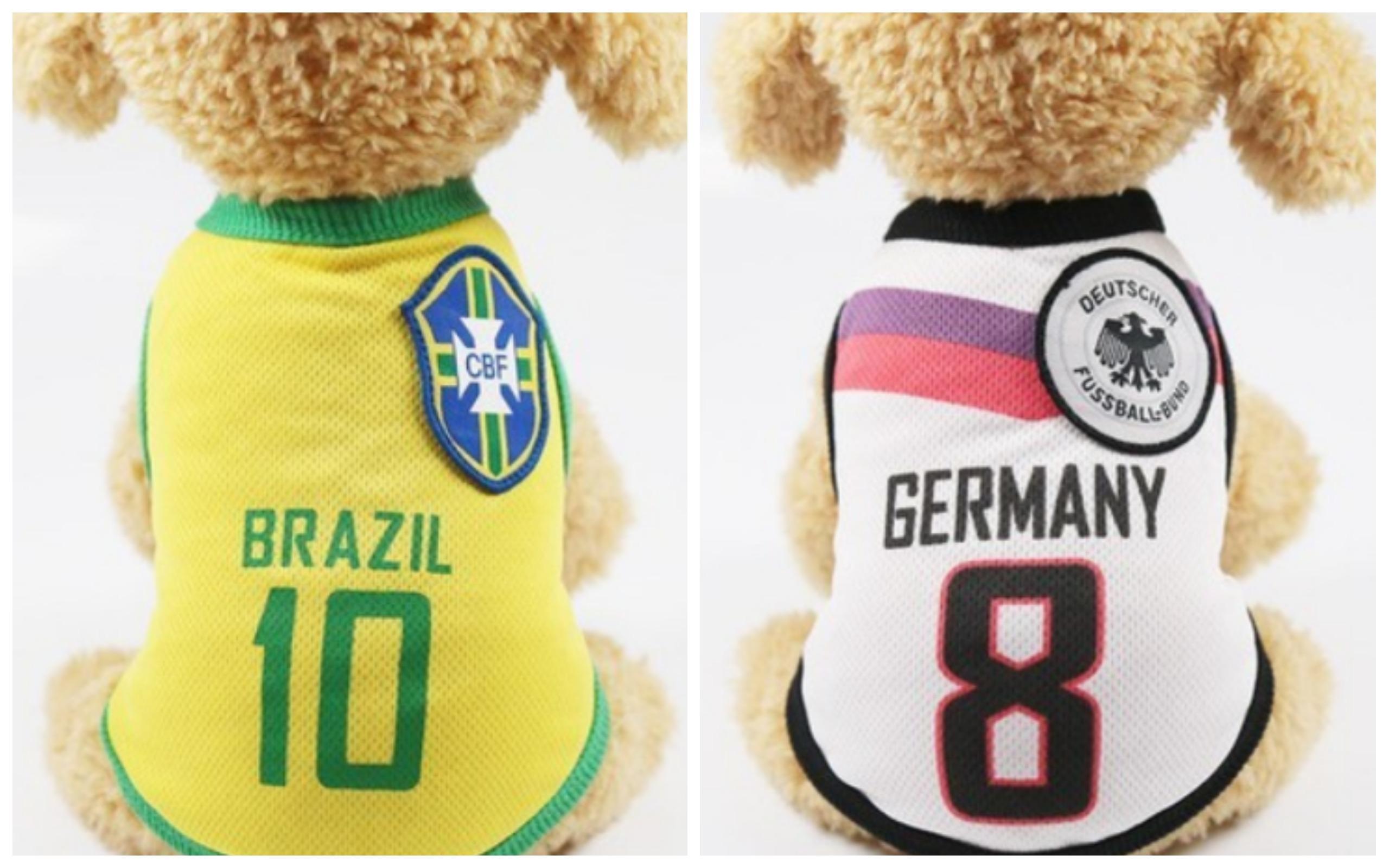 World Cup 2018 Dog Clothing Jerseys Brazil Germany