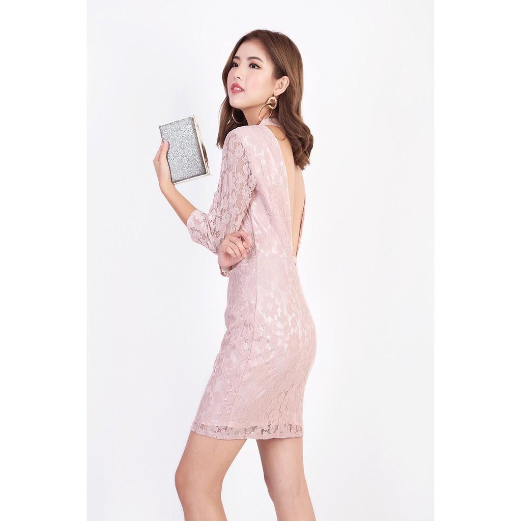 pink lace bridesmaid dress