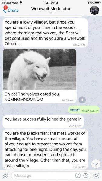 werewolf telegram game bot group chat