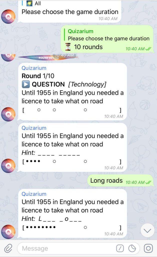 quizarium telegram game bot group chat