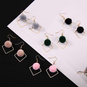 Geometric Furball Earrings