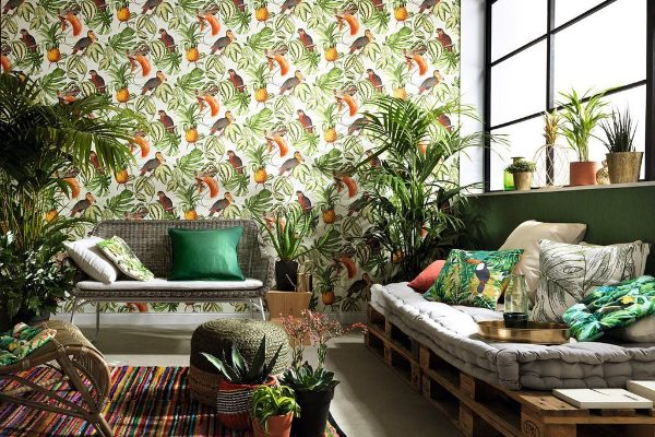 hdb bto decor home wallpaper tropical print funky