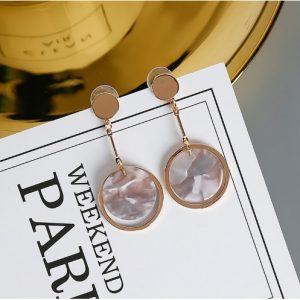 Shell Circle Geometric Long Earrings