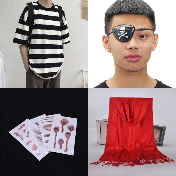 halloween costume ideas pirate adult male striped shirt eye patch
