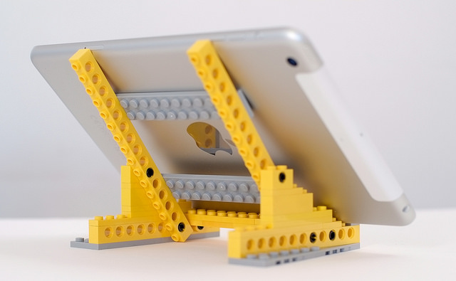 phone table stand with adjustable lego bricks in Singapore