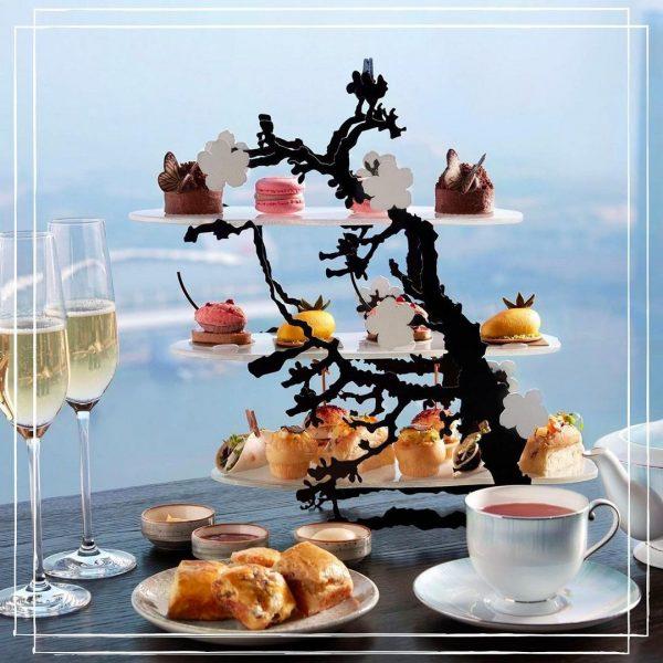skai high floor restaurant best high tea singapore japanese influenced dishes cherry blossom dessert stand