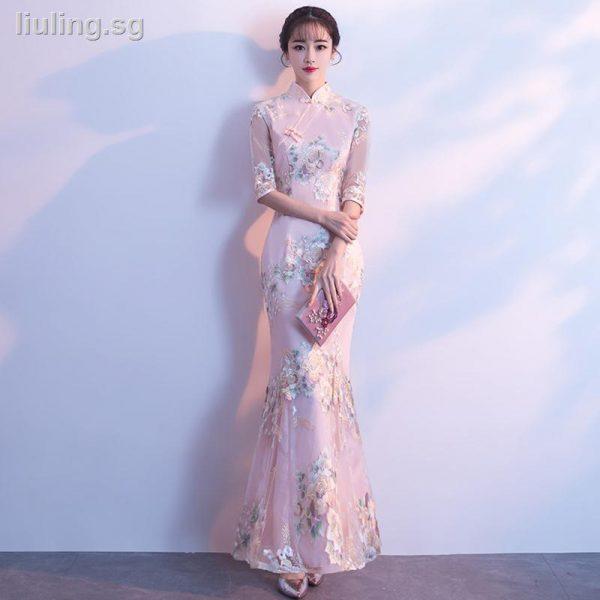 qipao singapore elegant mermaid cheongsam dress long maxi