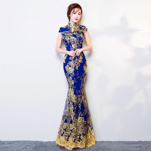 modern cheongsam singapore intricate royal blue maxi qipao