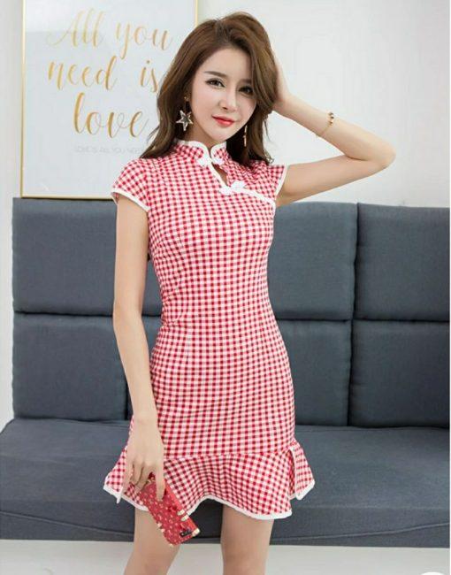 red checkered cap sleeves cheongsam singapore chinese new year