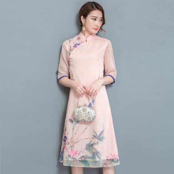 modern cheongsam singapore picturesque silk art summer qipao pink