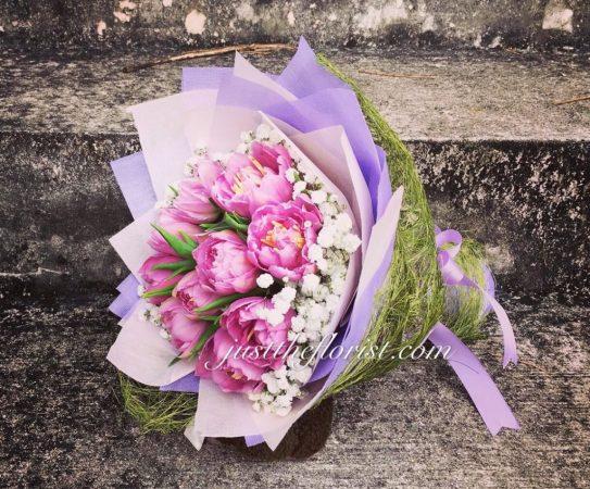 purple tulips bouquet valentines day flower singapore
