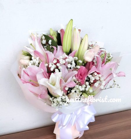 pink white lilies bouquet valentines day flower singapore
