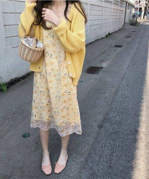 Loose chiffon floral strap dress