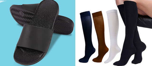 flip flops and compression socks travel essentials carry-on luggage