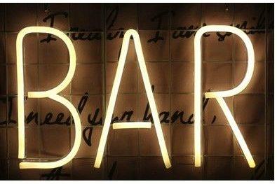 neon wall light bar counter design