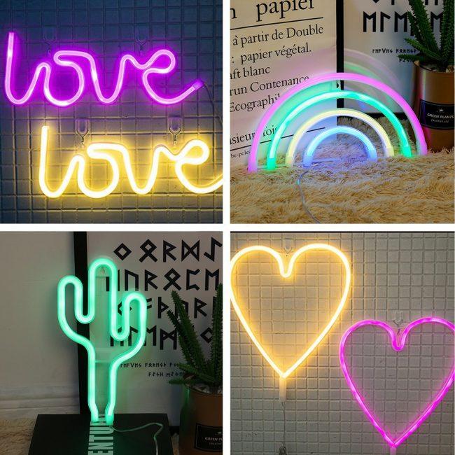 wedding reception table decorations neon sign love rainbow cactus heart