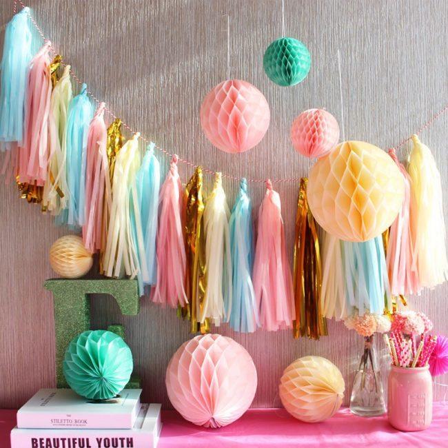 wedding reception table decorations party tassel garland pastel