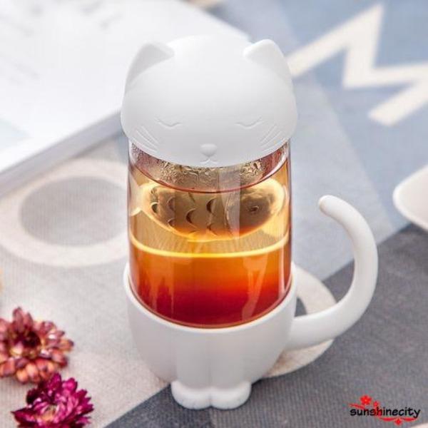 gifts for cat lovers cat-themed tea strainer glass bottle
