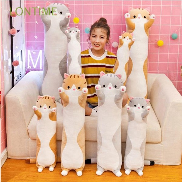gifts for cat lovers long cat bolster cute kitty plushie
