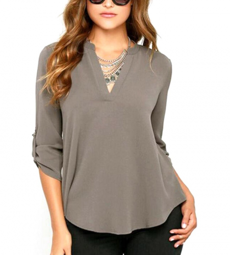 Stretchy Women V Neck Solid Chiffon Blouse Lady Shirt