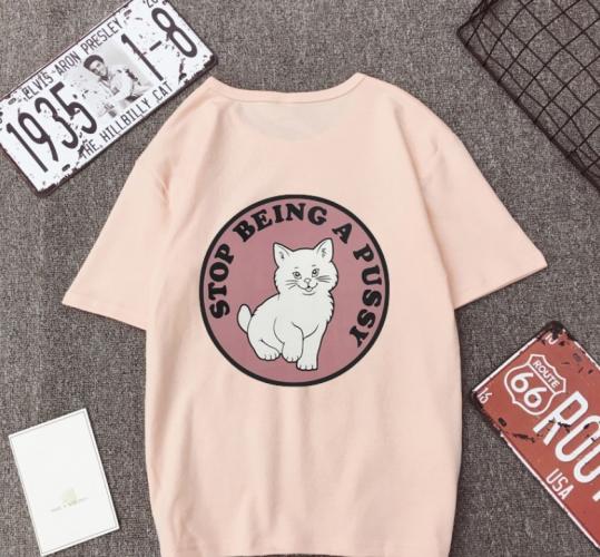 ✨ikon? Women Summer Casual T-Shirt Couple Short Sleeve Cotton Print Tops