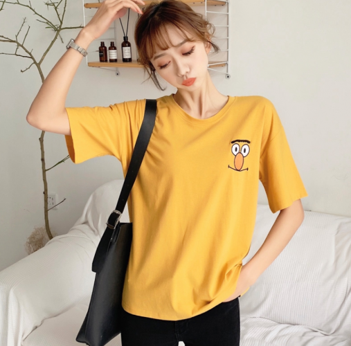 Ready Stock ?Tops Women? Short Sleeve Tshirt Casual Embroidery Oversized Tee