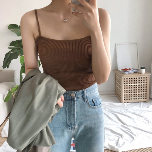 Xiaozhainv❤️Ready Stock Fashion Stretch Camisole Sling Tops