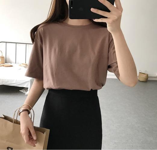 Xiaozhainv? oversized tee basic t-shirts koreanfashion simple white blouse