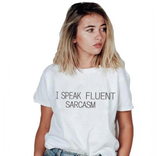 Share: Favorite (44) I SPEAK FLUENTT SARCASM Women's Funny T Shirt Fashion White Tops Plus Size