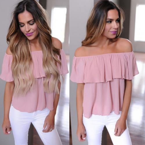 Fashion Women Ladies Sexy Loose Ruffle Off Shoulder Tops Dusty T-Shirt Blouse