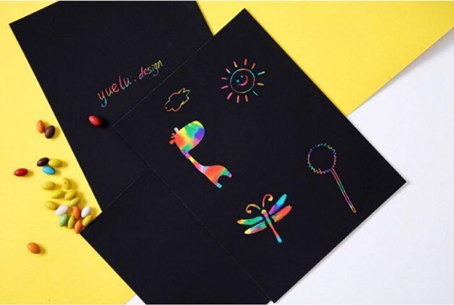 fathers day card ideas magic scratch paper rainbow art craft