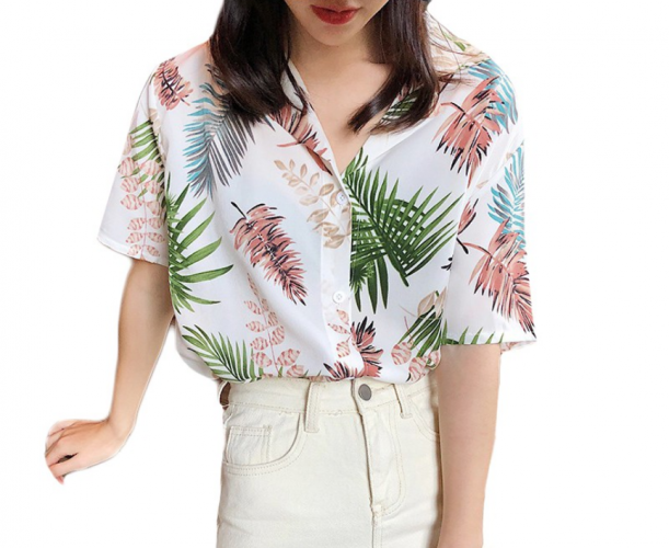 IELGY Summer Unisex Half Sleeve Print Hawaiian Shirts Women Beach Clothes