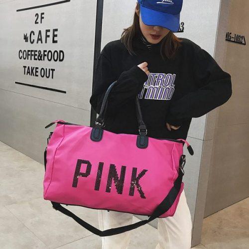 gym bag for women hot pink sequin duffel bag