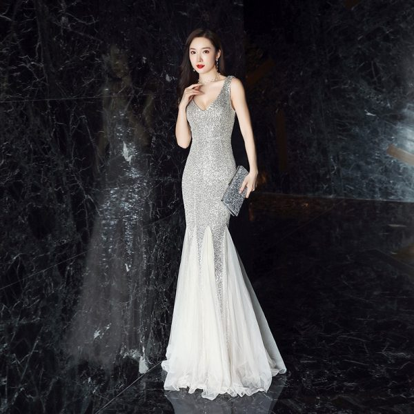cheap wedding dress online sparkly sequin mermaid gown
