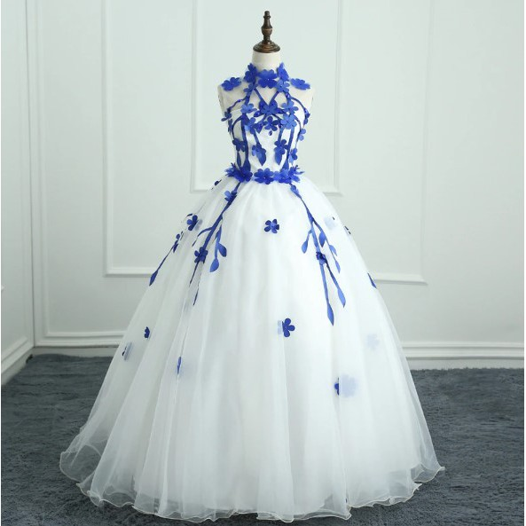 unique cheap wedding dress blue floral cage ball gown