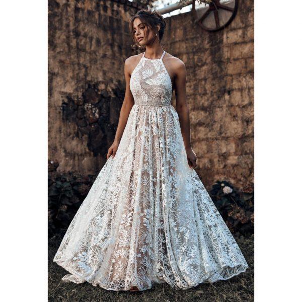 cheap wedding dress semi see through halter neck a-line lace