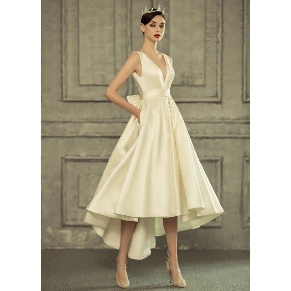 minimalist satin bow wedding dress modern bride meghan markle