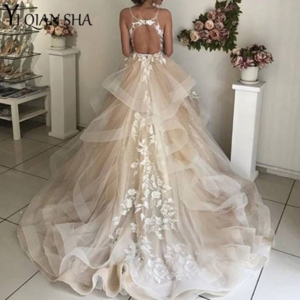 cheap wedding dress tiered tulle floral lace