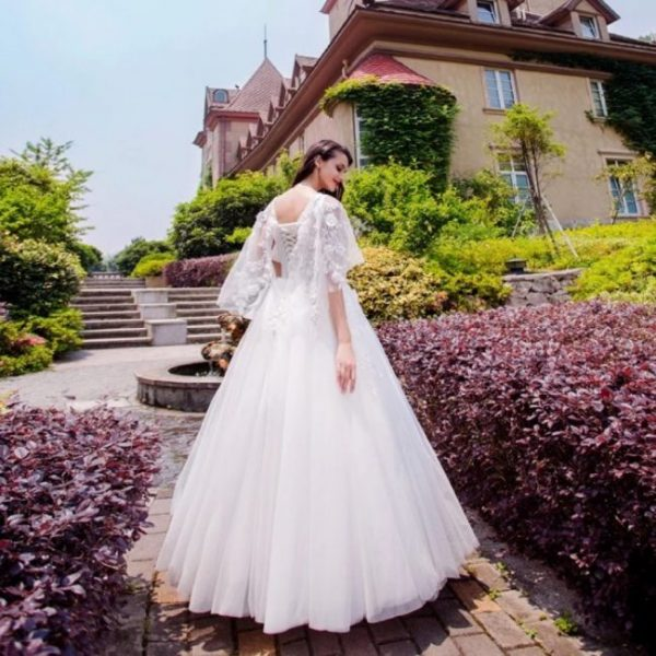 wedding dresses online ethereal cape sleeved a line wedding gown
