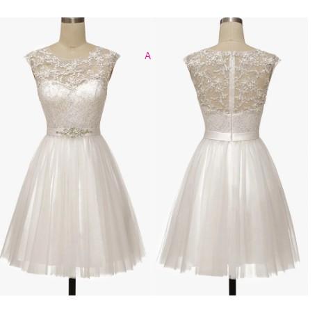 cheap wedding dress simple short illusion back