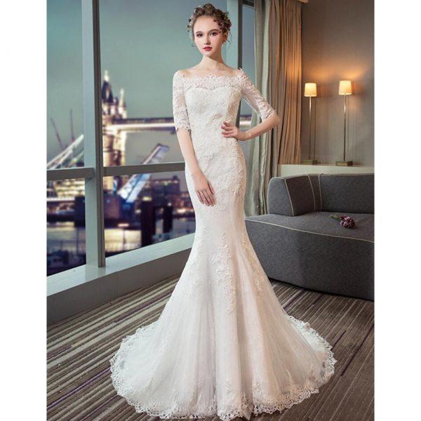 cheap wedding dress mermaid beaded off shoulder bride